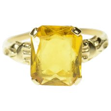 10K 1940's Syn. Citrine Retro Solitaire Statement Ring Size 9.5 Yellow Gold [CQXS]