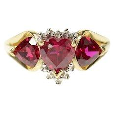 10K Three Stone Heart Ruby Diamond Accent Ring Size 9.75 Yellow Gold [CQXS]