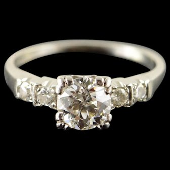 Palladium Vintage 1.06 CT Round Center 0.20 CTW Diamond Engagement Ring Size 6.75  [QWXC]