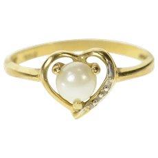 10K Pearl Diamond Accent Heart Love Symbol Ring Size 5.5 Yellow Gold [CQXS]