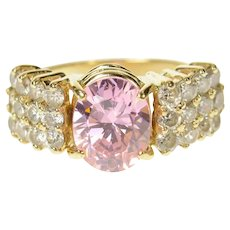 14K Oval Pink Cubic Zirconia Cluster Statement Ring Size 6.25 Yellow Gold [CQXS]