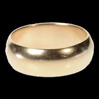 9K 6.8mm Wide Rounded Soviet Wedding Band Ring Size 6.75 Yellow Gold [CQXT]