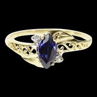 10K Marquise Syn. Sapphire Wavy Bypass Ring Size 6.5 Yellow Gold [CQXS]
