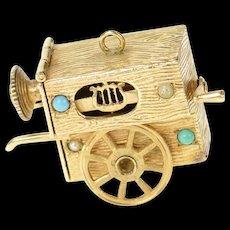 14K Ornate Seed Pearl Calliope Music Box Charm/Pendant Yellow Gold [CQXS]