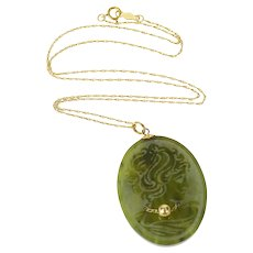 """14K Carved Oval Nephrite Lady Intaglio Chain Necklace 16"""" Yellow Gold [CQXS]"""