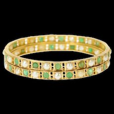 "14K Victorian Emerald Classic Statement Bangle Bracelet 7.75"" Yellow Gold [CQXS]"