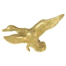 14K Satin Finish Mallard Duck Ornate Lapel Pin/Brooch Yellow Gold [CQXS]