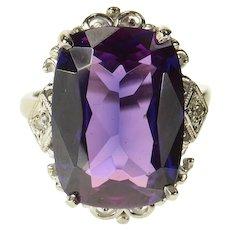 10K Ornate Art Deco Amethyst Diamond Cocktail Ring Size 5.75 White Gold [CQXS]