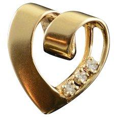 14K 0.12 CTW Diamond Accented Heart Knot Pendant Yellow Gold  [QWXC]