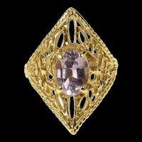 14K Oval Amethyst Ornate Filigree Statement Ring Size 5.5 Yellow Gold [CQXS]