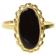 14K Oval Ornate Black Onyx Scalloped Trim Ring Size 9 Yellow Gold [CQXT]