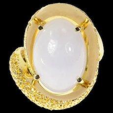14K Pale Blue Agate Cabochon Swirl Statement Ring Size 7 Yellow Gold [CQXS]