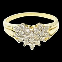 14K Heart Cluster Love Symbol Statement Ring Size 8.75 Yellow Gold [CQXT]