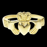 14K Traditional Celtic Claddagh Loyalty Symbol Ring Size 6.75 Yellow Gold [CQXT]