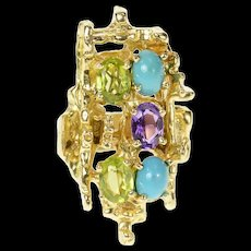 14K Turquoise Peridot Amethyst Abstract Cocktail Ring Size 7 Yellow Gold [CQXS]