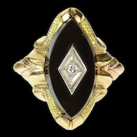 10K Marquise Black Onyx Diamond Statement Ring Size 5.5 Yellow Gold [CQXS]