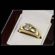 14K 0.57 Ct Men's Diamond Solitaire Wedding Ring Size 9.25 Yellow Gold [CQXS]