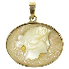 14K Carved Mother Of Pearl Lady Ornate Oval Pendant Yellow Gold [CQXT]