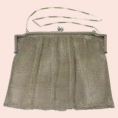 Sterling Silver Art Deco Sim. Sapphire Mesh Chain Purse Handbag   [CQXT]