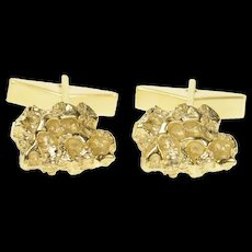 14K Raw Textured Nugget Cluster Abstract Cuff Links Yellow Gold [CQXT]