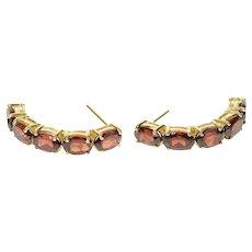 10K Oval Garnet Inset Curved Bar Semi Hoop Earrings Yellow Gold [CQXT]