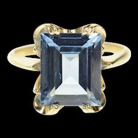 10K 1940's Emerald Cut Syn. Blue Topaz Statement Ring Size 6.75 Yellow Gold [CQXT]