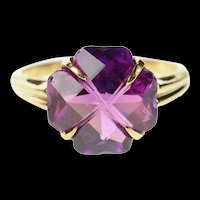 10K Clover Shamrock Retro Syn. Amethyst Cocktail Ring Size 7 Yellow Gold [CQXT]