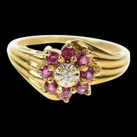 10K Diamond Ruby Halo Flower Cluster Statement Ring Size 6.5 Yellow Gold [CQXT]