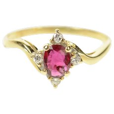14K Oval Natural Ruby Diamond Bypass Engagement Ring Size 4.5 Yellow Gold [CQXT]