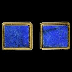 14K Squared Lapis Lazuli Inset Ornate Retro Cuff Links Yellow Gold [CQXT]