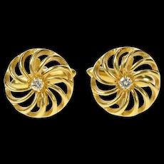14K Retro 1960's Diamond Swirl Spiral Tuxedo Cuff Links Yellow Gold [CQXT]