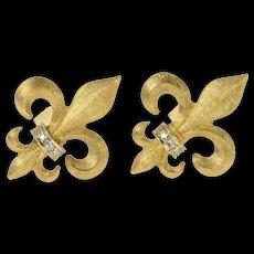 14K Diamond Inset Retro Fleur De Lis Cuff Links Yellow Gold [CQXT]