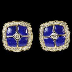 18K Squared Lapis Lazuli Diamond Ornate Tuxedo Cuff Links Yellow Gold [CQXT]