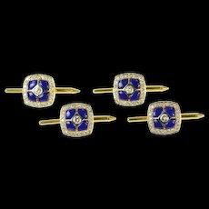 18K Squared Lapis Lazuli Diamond Tuxedo Stud Cuff Links Yellow Gold [CQXT]