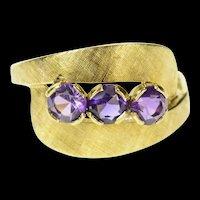 14K Three Stone Amethyst Ornate Bypass Statement Ring Size 8.25 Yellow Gold [CQXT]