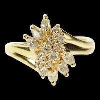 14K Round & Marquise Diamond Classic Cluster Ring Size 4.5 Yellow Gold [CQXT]