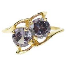 10K Retro Round Two Stone Syn. Alexandrite Ring Size 6.5 Yellow Gold [CQXT]