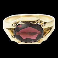 10K Round Garnet Retro Squared Statement Ring Size 7 Yellow Gold [CQXT]