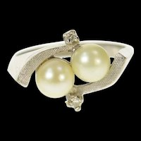 14K Retro Two Pearl Diamond Swirl Statement Ring Size 5.5 White Gold [CQXK]