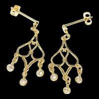 10K Ornate Scroll CZ Dangle Fringe Statement Earrings Yellow Gold [CQXK]