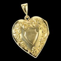10K Puffy Floral Heart Photo Picture Locket Pendant Yellow Gold [CQXK]