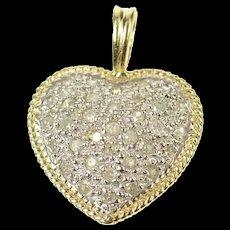10K Classic Pave Diamond Heart Love Symbol Pendant Yellow Gold [CQXK]