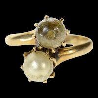10K Ornate Retro Sim. Pearl Bypass Statement Ring Size 5.25 Yellow Gold [CQXK]