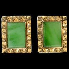 18K Retro Jade Squared Geometric Ornate Cuff Links Yellow Gold [CQXK]