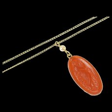 """14K Carved Carnelian Goddess Lady Pearl Accent Necklace 14.75"""" Yellow Gold [CQXK]"""