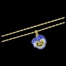 "14K Diamond Pansy Enamel Victorian Flower Chain Necklace 22"" Yellow Gold [CQXK]"