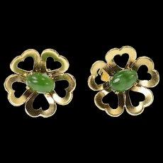 14K Retro Oval Nephrite Heart Flower Stud Earrings Yellow Gold [CQXK]