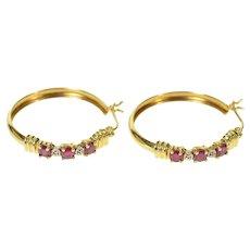 14K Classic Diamond Ruby Statement Hoop Earrings Yellow Gold [CQXK]