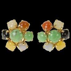 14K Retro Multi Colored Jade Flower Cluster Earrings Yellow Gold [CQXK]