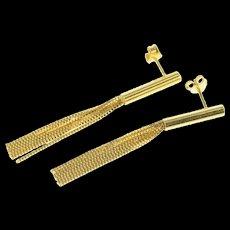 14K Box Chain Fringe Round Bar Dangle Earrings Yellow Gold [CQXK]